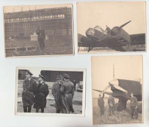 55621/4 seltene Original Fotos Flugzeug und Hangar Attrappen im 2.Weltkrieg