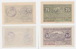 25 & 50 Pfennig Banknoten Notgeld Stadtgemeinde Jarmen 1920 (122519)