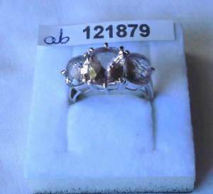 Anmutiger glitzernder Damen-Ring Silber 925 hellrosa große Steine (121879)