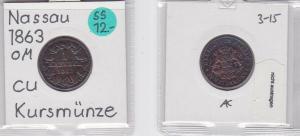 1 Kreuzer Kupfer Münze Nassau 1863 (121126)