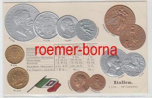 83496 Präge Ak mit Münzabbildungen Italien um 1920