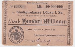 100 Millionen Mark Banknote Stadtgirokasse Löbau 2.10.1923 (114037)