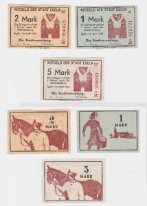 1, 2 und 5 Mark Notgeld der Stadt Egeln im April 1945 (117320)