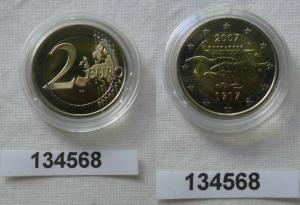 2 Euro Bi-Metall Münze Finnland 90 Jahre Unabhängikeit 2007 Stempelglanz(134568)