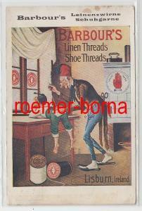 68467 Reklame Ak Barbour´s Leinenzwirne Schuhgarne Lisburn Ireland um 1920