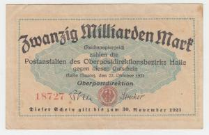 20 Milliarden Mark Banknote Oberpostdirektion Halle a. Saale 27.10.1923 (111897)