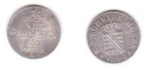 1/2 Neu Groschen Silber Münze Sachsen 1842 G (115380)