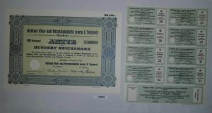 100 RM Aktie Meißner Ofen- und Porzellanfabrik (vorm.C.Teichert) 1934 (130963)