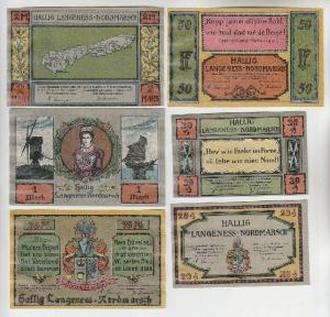 6 Banknoten Notgeld Hallig Langeness-Nordmarsch 1921 (113481)