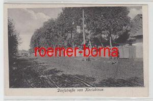 70115 Feldpost Ak Dorfstrasse von Kociubince in der Ukraine 1918