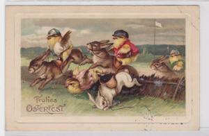 19309 Humor AK Frohes Osterfest, Hühner reiten Kaninchen bei einem Rennen 1913