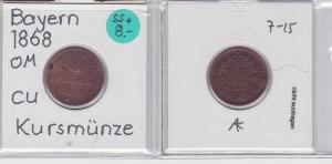 2 Pfennig Kupfer Münze Bayern 1868 (121647)