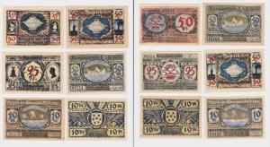 6 Banknoten Notgeld Gemeinde Volkstedt 1921 (120485)