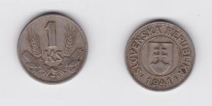 1 Krone Nickel Münze Slowakei 1941 (119889)