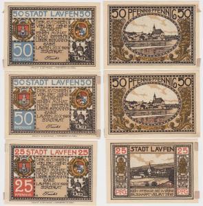 25 und 2x 50 Pfennige Notgeld Stadt Laufen 1920 (115971)