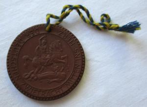 DDR Porzellan Medaille 10 Jahre Christlich-Demokratische Union 1955 (113560)