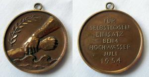 Seltene Medaille für die Bekämpfung der Hochwasserkatastrophe Juli 1954 (124917)