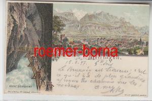 73950 Ak Lithographie Gruß von Meiringen Aareschlucht 1897