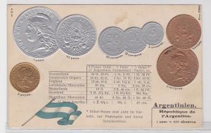 40921 Präge Ak mit Münzabbildungen Argentinien um 1910