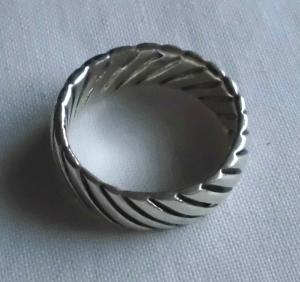 Moderner Damenring 925er Silber Muster Wellenstreifen (117765)