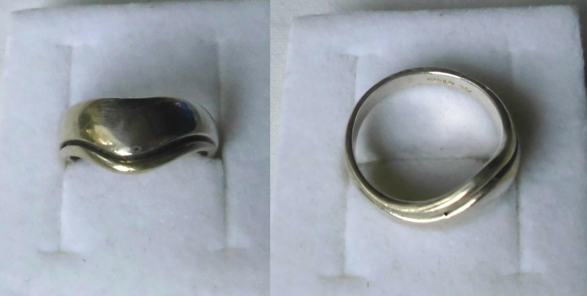 Moderner geschwungener Damenring 925er Silber (117325) 0