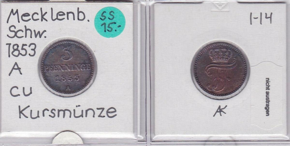 3 Pfennig Kupfer Münze Mecklenburg-Schwerin 1853 A (121820) 0
