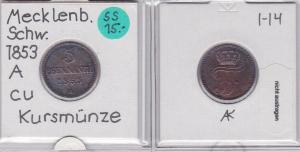 3 Pfennig Kupfer Münze Mecklenburg-Schwerin 1853 A (121820)