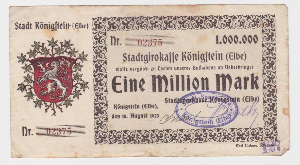 1 Million Mark Banknote Stadtgirokasse Königstein Elbe 16.8.1923 (121550) 0