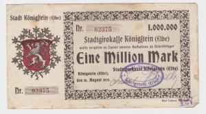 1 Million Mark Banknote Stadtgirokasse Königstein Elbe 16.8.1923 (121550)