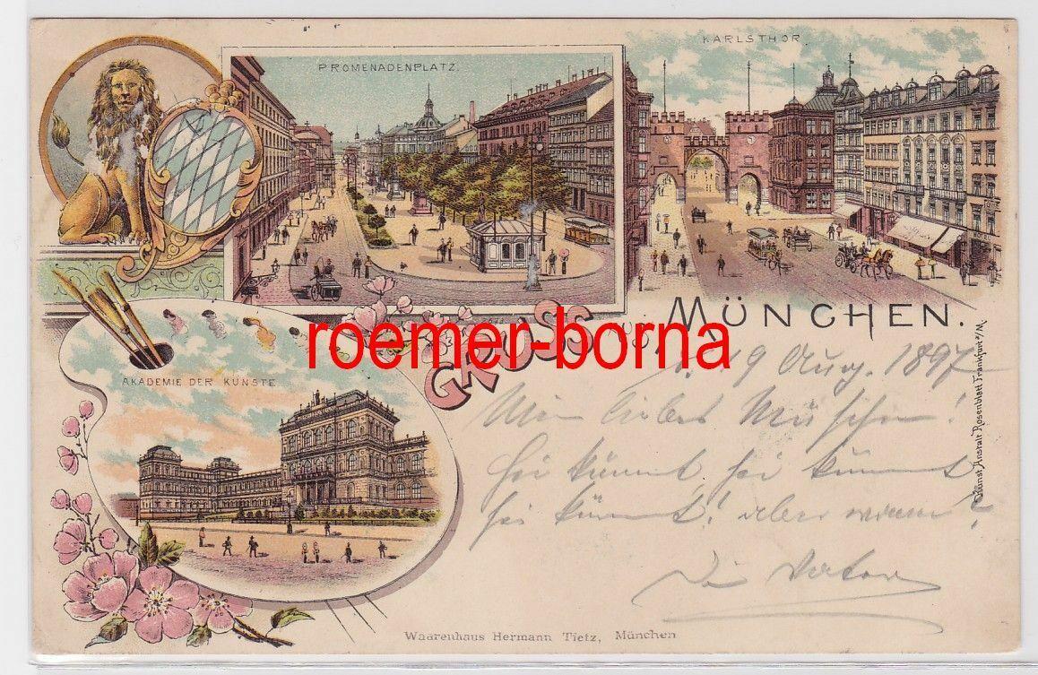 84360 Ak Lithografie Gruss aus München Karlsthor, Promenadenplatz usw. 1897 0