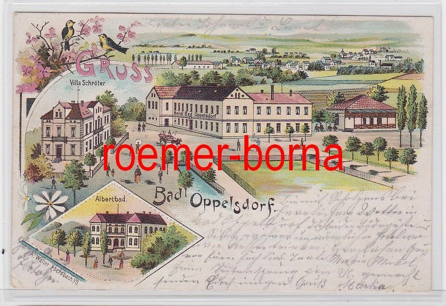 81351 Ak Lithografie Bad Oppelsdorf Opolno-Zdrój Hotel 1903 0