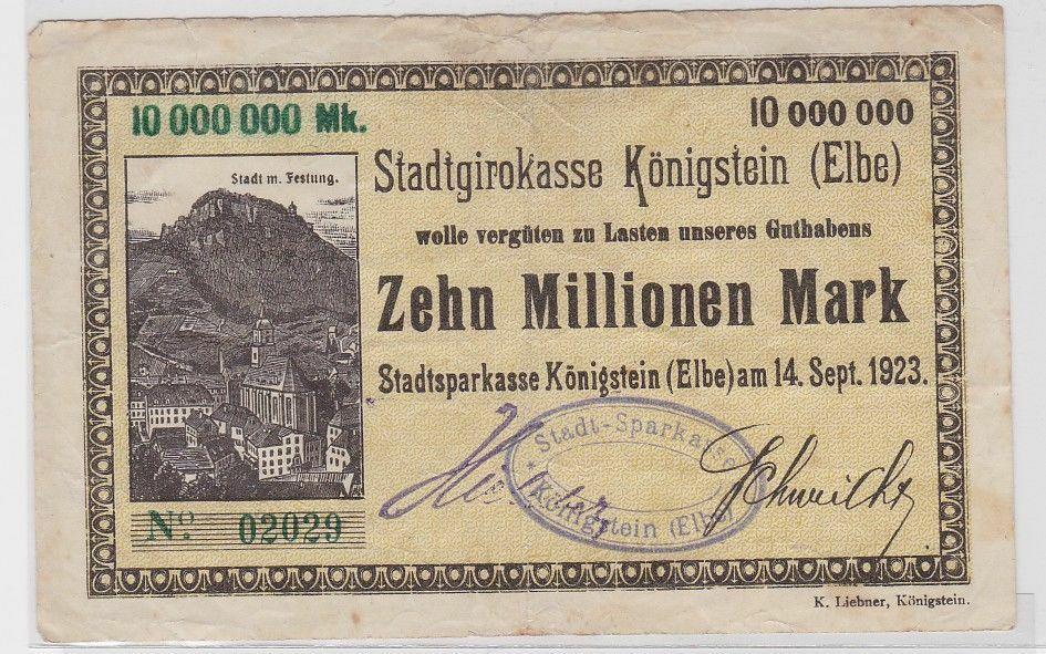 10 Millionen Mark Banknote Stadtgirokasse Königstein 14.9.1923 (119042) 0