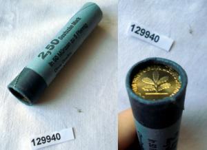 Original Rolle der Deutschen Bundesbank BRD 50 Münzen zu 5 Pfennig (129940)
