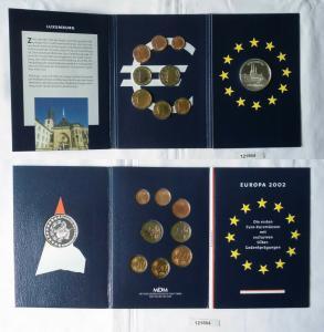 KMS Euro Kursmünzensatz 2002 von Luxemburg mit Silber-Gedenkprägung (131564)
