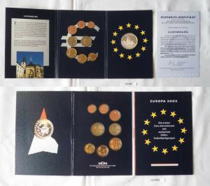 KMS Euro Kursmünzensatz 2002 von Luxemburg mit Silber-Gedenkprägung (131952)