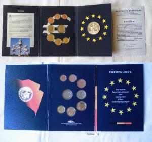 KMS Euro Kursmünzensatz 2002 von Belgien mit Silber-Gedenkprägung (132044)