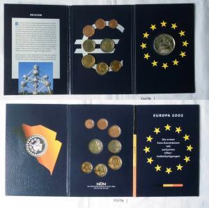 KMS Euro Kursmünzensatz 2002 von Belgien mit Silber-Gedenkprägung (125778)