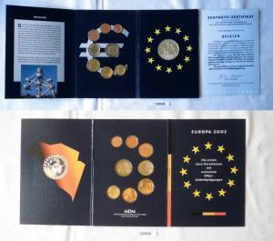 KMS Euro Kursmünzensatz 2002 von Belgien mit Silber-Gedenkprägung (129506)