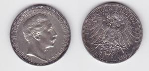 3 Mark Silbermünze Preussen Kaiser Wilhelm II 1909 Jäger 103  (124643)