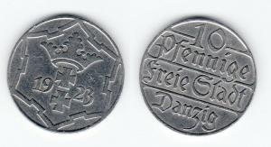 10 Pfennig Kupfer Nickel Münze Danzig 1923 Jäger D 5 (12104)