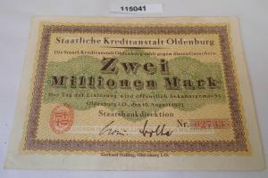2 Millionen Mark Banknote Inflation Staatsbank Oldenburg 16.8.1923 (115041)