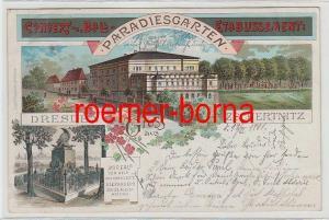 76874 Ak Lithografie Gruss aus Paradiesgarten Dresden Zschertnitz 1901