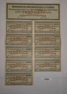 1000 Mark Erneuerungsschein Muldentalwerke AG Freiberg 4.Juli 1923 (128386)