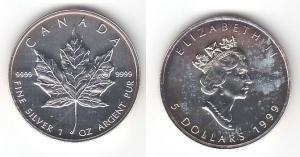 5 Dollar Silber Münze Kanada Meaple Leaf 1999 1 Unze Feinsilber (115360)