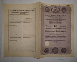 500 Reichsmark Schuldverschreibung IG Farbenindustrie AG Frankfurt 1939 (127785)