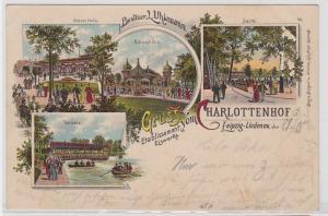 86889 Lithografie AK Gruss vom Charlottenhof Leipzig-Lindenau Etablissement