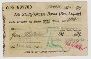 Firmenscheck 1 Million Mark Banknote Stadtgirokasse Borna 3.8.1923 (120392)
