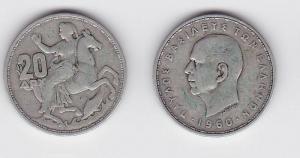 20 Drachmen Silber Münze Griechenland 1960 (117121)
