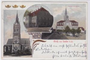 70496 Mehrbild Ak Gruß aus Lucka S.-A. Schule, Rathaus & Kirche 1908