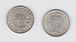 2 Franken Silber Münze Schweiz 1958 B (117748)